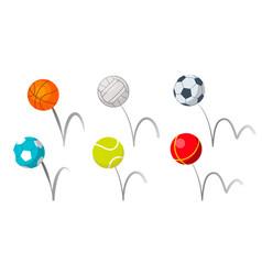 bounce balls sport playing equipment set vector image