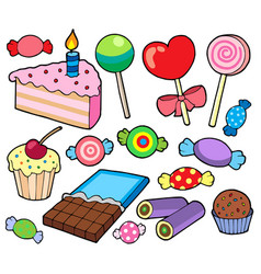 Candy and cakes collection vector