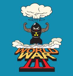 Cartoon atomic bomb and atomic mushroom vector