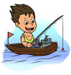 cartoon boy character fishing in rowboat vector image
