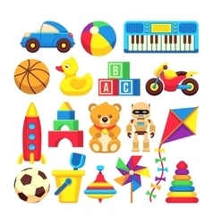 Cartoon children toys icons isolated vector
