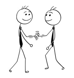 Cartoon of two men shaking their hands vector