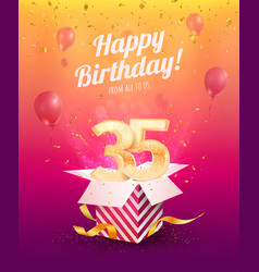 celebrating 35 th years birthday vector image