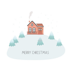 Christmas card with house merry christmas vector