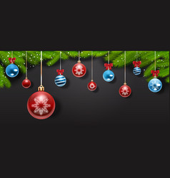 christmas decorations and balls hanging from pine vector image