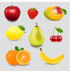 collection fresh fruit and berry transparent vector image