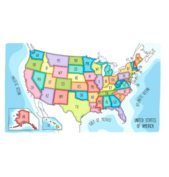 colorful hand drawn map of the usa vector image