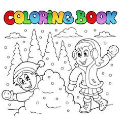 Coloring book winter theme 2 vector