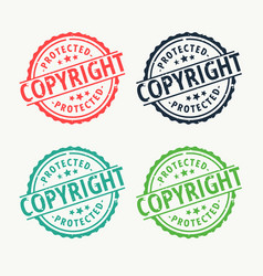 Copyright badge rubber stamp set in different vector