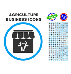 Cow farm rounded icon with set vector