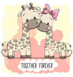 cute cartoon giraffes boy and girl vector image