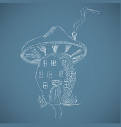 Cute cartoon mushroom house sketch vector