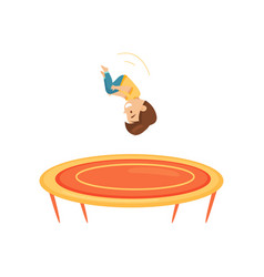 cute little boy doing somersault on trampoline vector image