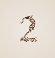 Decorated two digit on beige vector