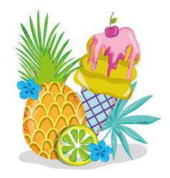 delicious summer ice cream cartoons vector image
