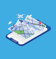 drone carrying parcel and flying above paper city vector image