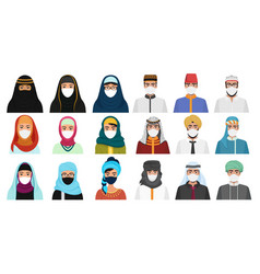 east men and women in masks character cartoon flat vector image