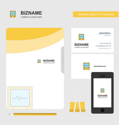 Ecg business logo file cover visiting card and vector