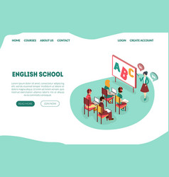 english school landing page distant learning vector image