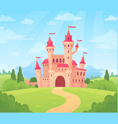 Fairytale landscape with castle fantasy palace vector