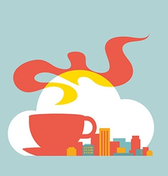 flat style modern city with cup of coffee and vector image