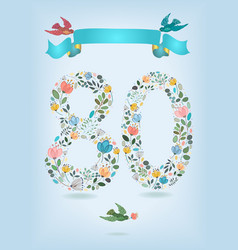 Floral number eighty with ribbon and birds vector