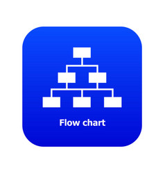 Flow chart icon blue vector