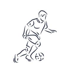 Footballer running with ball vector