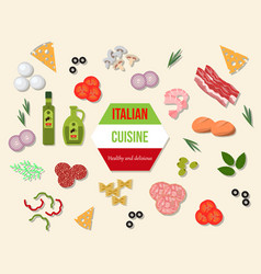 fresh and healthy italian cuisine food vector image