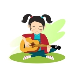 Girl plays guitar vector