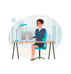 girl working at computer office vector image