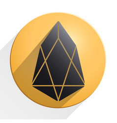 gold coin with eos cryptocurrency sign vector image