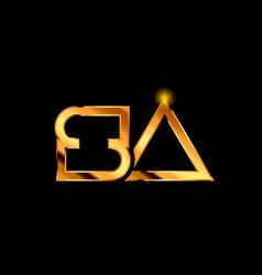 Gold golden metal alphabet letter logo vector