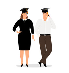 graduates people in official clothes vector image