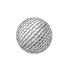hand drawn sketch of golf ball in black isolated vector image