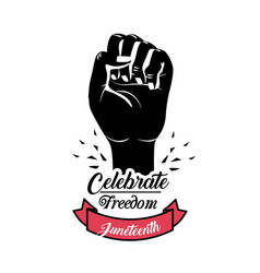 Hand fist up with ribbon to celebrate freedom vector