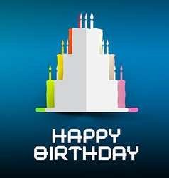Happy Birthday Retro with Paper Cake and Can vector