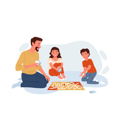 Happy family play board game with cards at home vector