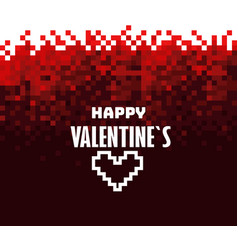 Happy valentines mosaic red background abstract vector