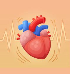 Heart beating cartoon vector