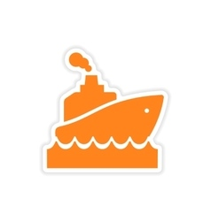 Icon sticker realistic design on paper ship wave vector