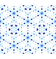 Indigo dots hearts blue flower pattern vector