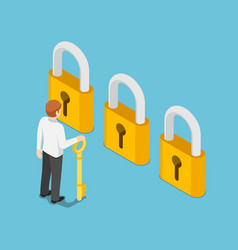 isometric businessman holding golden key and vector image