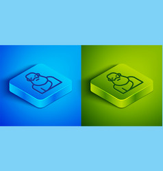 Isometric line socrates icon isolated on blue vector