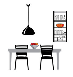 kitchen furniture set table chairs lamp cupboard vector image