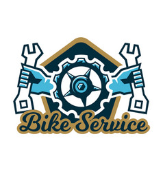 Logo bike service a bicycle sprocket and hand vector