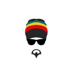 Man wearing rastafarian hat icon in flat style vector