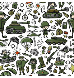military sketch seamless pattern for your design vector image