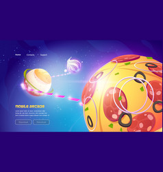 Mobile arcade game website with food planets vector