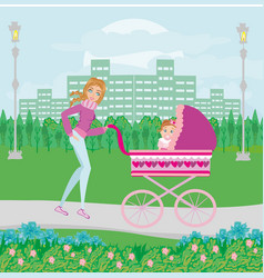 Mother and daughter in park vector